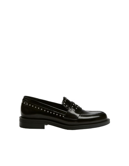 Black studded loafers
