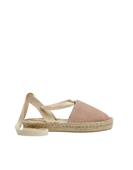 Leather and jute slingback espadrilles