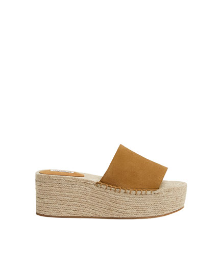 Mustard yellow jute wedges