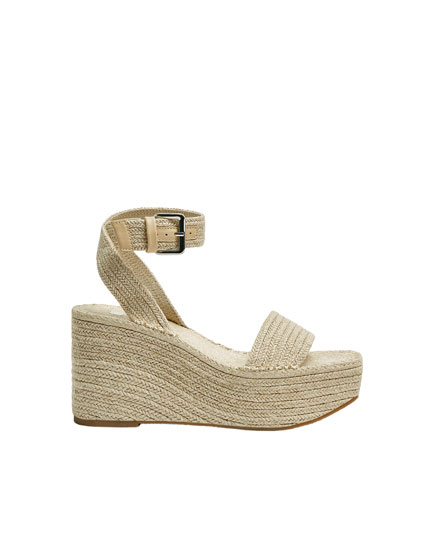Jute wedges with buckle detail