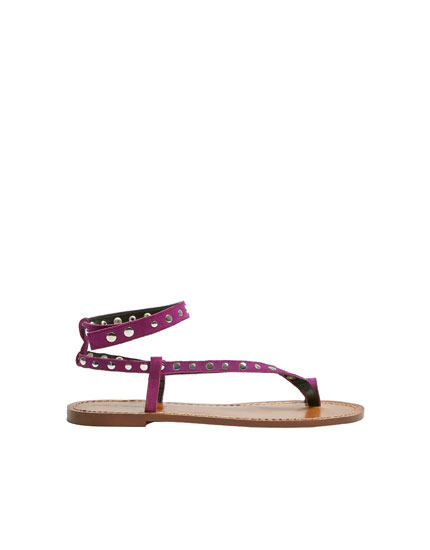 Purple leather sandals with studs