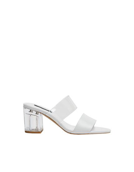 Sandales blanches en vinyle