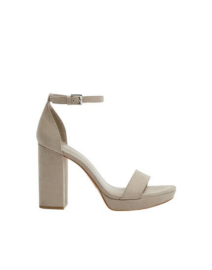 Taupe high-heel sandals