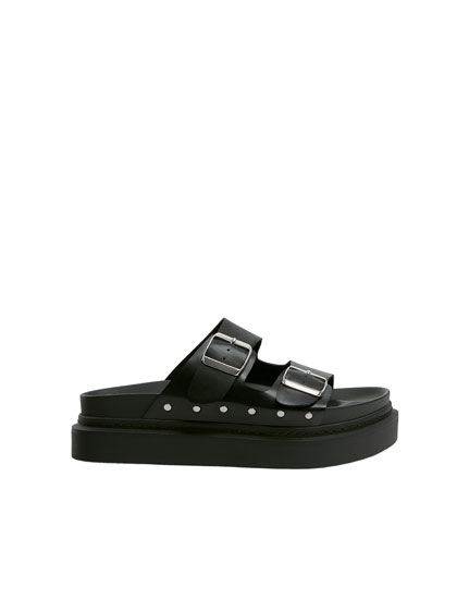 Buckled black footbed sandals