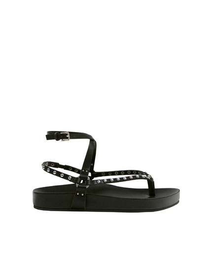 Black sandals with studs
