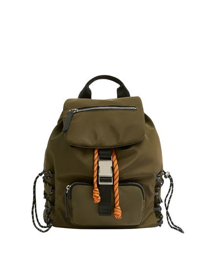 Green backpack in stretch fabric
