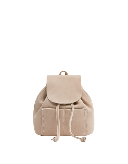 Mini pink leather backpack
