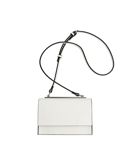 White tumbled-effect crossbody bag