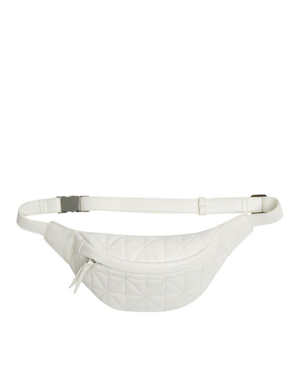 White quilted belt bag
