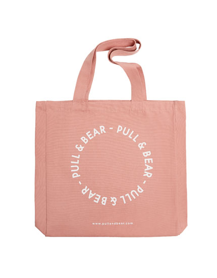 Pink tote bag with logo