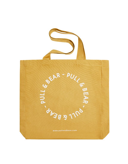 Yellow tote bag with logo