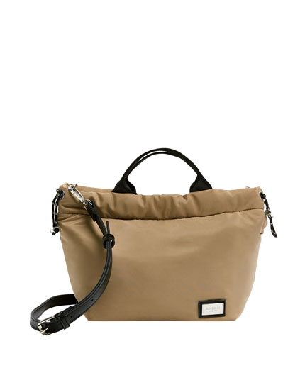 Mini sand-coloured tote bag