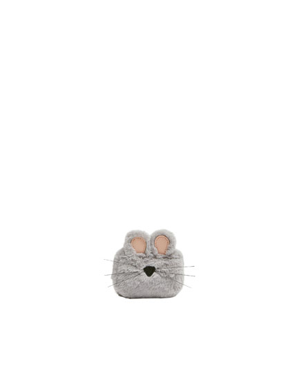 Grey mouse-shaped purse