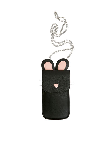 Black embellished mobile phone bag