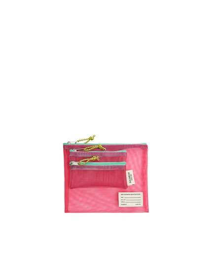 Fuchsia mesh toiletry bag