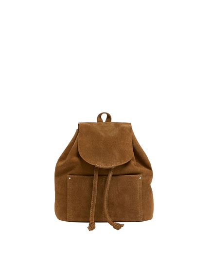 Mini brown leather backpack