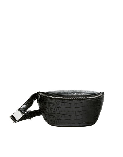 Mock croc print belt bag