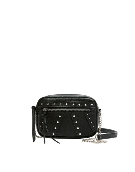 Studded black crossbody bag