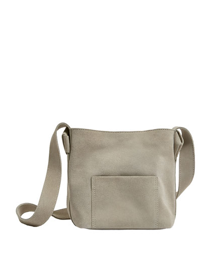 Beige split suede crossbody bag