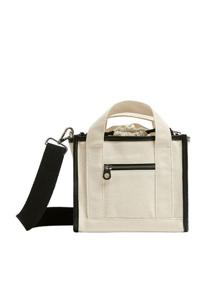 Two-tone canvas crossbody bag
