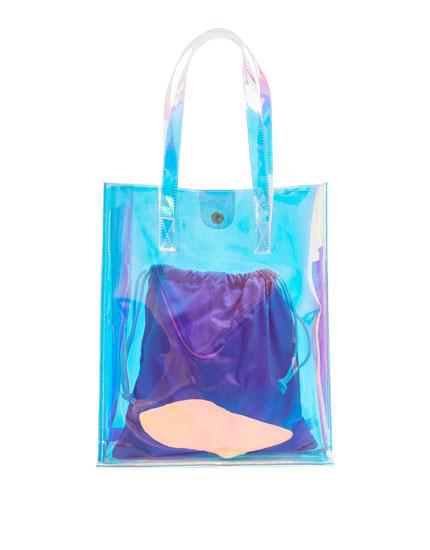Iridescent vinyl tote bag