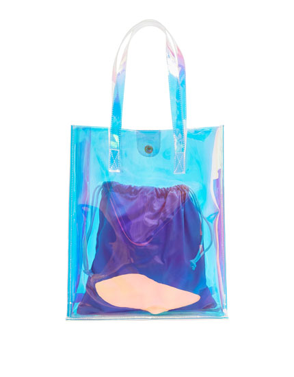 Iridescent vinyl tote bag