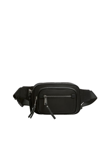 Square belt bag in black