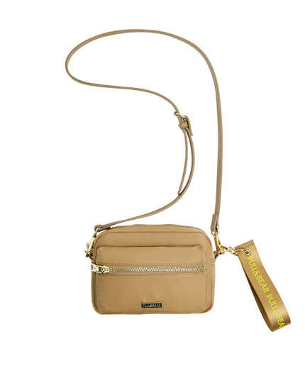 Mini beige nylon crossbody bag