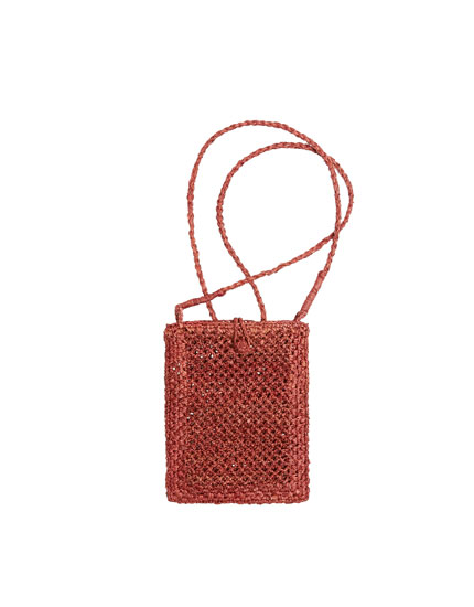 Red raffia mobile phone bag