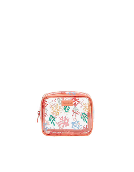Coral print toiletry bag
