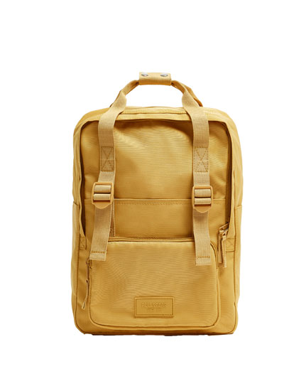 Fabric backpack in mustard yellow
