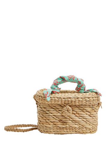 Crossbody straw bag with handkerchief detail