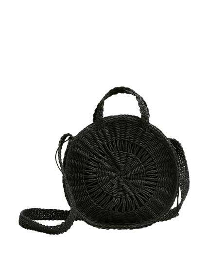 Round black crossbody bag
