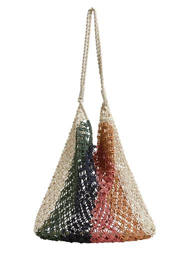 Multicoloured mesh tote bag