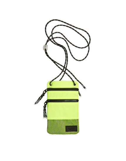 Neon mini crossbody bag with pocket