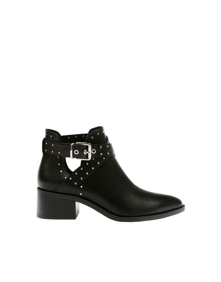 Black ankle boots with mini studs