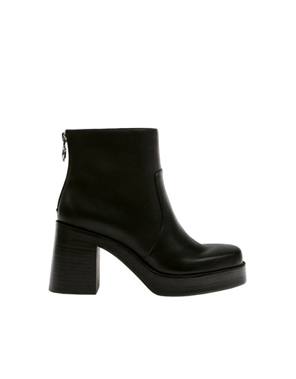 Black ankle boots with square toe