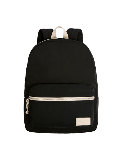 Black backpack with a logo