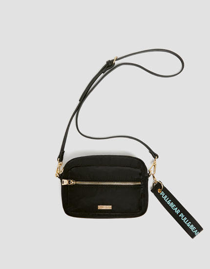 Black mini nylon crossbody bag