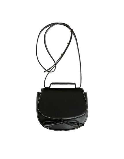 Mini black crossbody bag with bow
