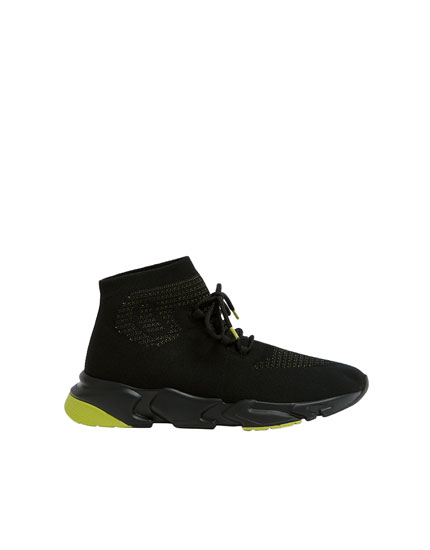 Black high-top technical trainers