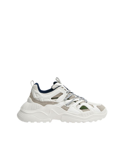 Technical multi-piece chunky sneakers