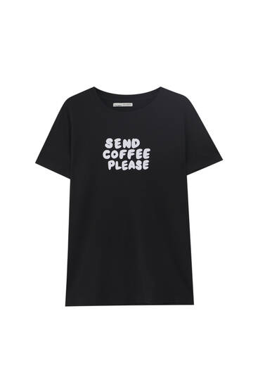 Black T-shirt with contrast slogan - 100% ecologically grown cotton