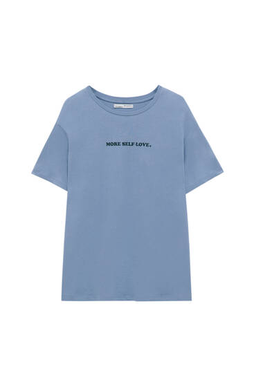 T-shirt with chest slogan - 100% ecologically grown cotton