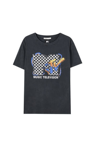 Chequered MTV T-shirt - 100% ecologically grown cotton