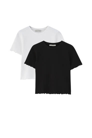 Pack of basic check texture T-shirts