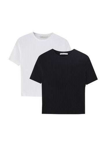 Pack of wide rib T-shirts - 100% ecologically grown cotton