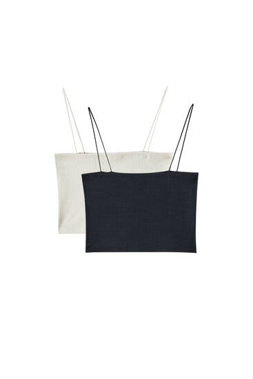 Pack of crop tops with thin straps - Contains recycled polyester