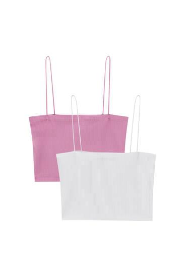 Pakke med korte toppe med tynde stropper – indeholder genanvendt polyester