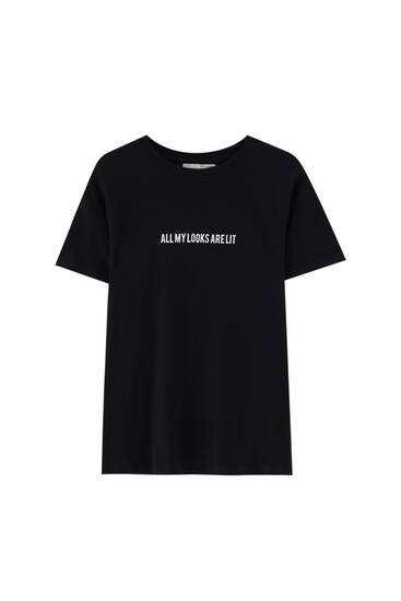 T-shirt with contrast front slogan - 100% ecologically grown cotton